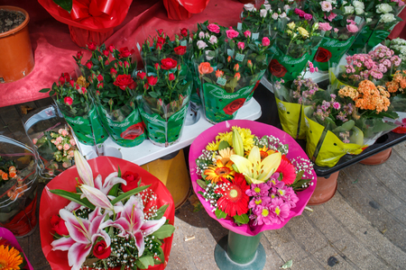 the ramblas: Barcelona, Catalunya, Spain - July 26, 2015: Flowers outside of flower shop in Las Ramblas, Barcelona Stock Photo