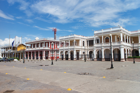 turistic: Granada, Nicaragua - October 14, 2015: Central Park Outdoors view with people, its the most turistic place Stock Photo
