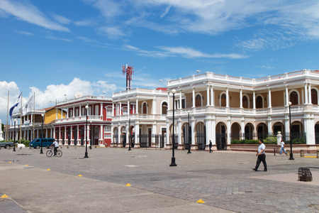 turistic: Granada, Nicaragua - October 14, 2015: Central Park Outdoors view with people, its the most turistic place Editorial