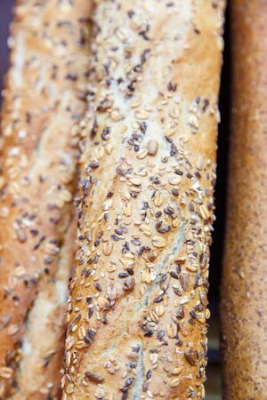 baguet: French cereal breads and baguette