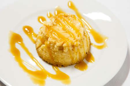 creme: Creme caramel on white plate Stock Photo