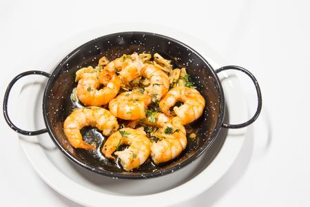 prepared: delicious prepared shrimps in the fry pan