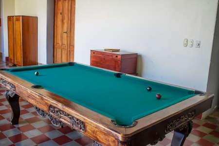 pool halls: vintage billiard table Stock Photo