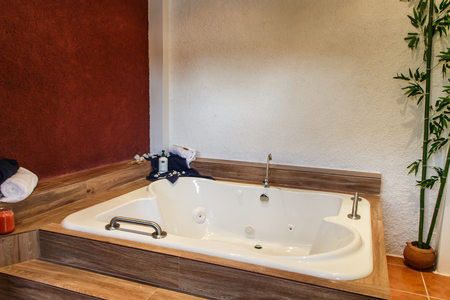 luxuriously: relaxing wooden bathtub room, relax concept
