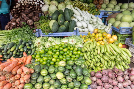 fruit market: Fruit market with various fruits and vegetables Stock Photo