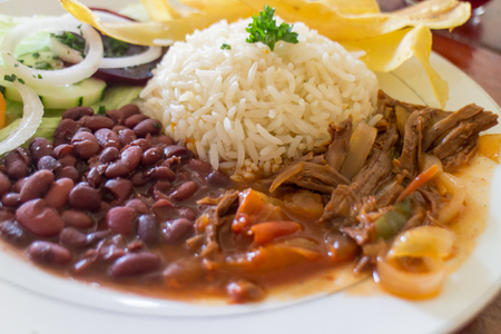 A typical lunch of beef ,beans, plantains and rice in Nicaragua Stock Photo