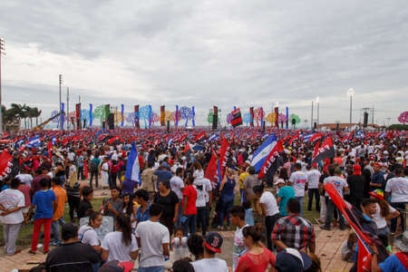 commemorating: Managua, Nicaragua – July 19, 2016: People on street commemorating the 37th anniversary of victory of sandinist revolution Editorial