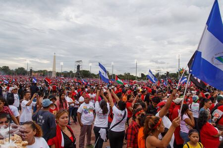 insurrection: Managua, Nicaragua – July 19, 2016: People on street commemorating the 37th anniversary of victory of sandinist revolution