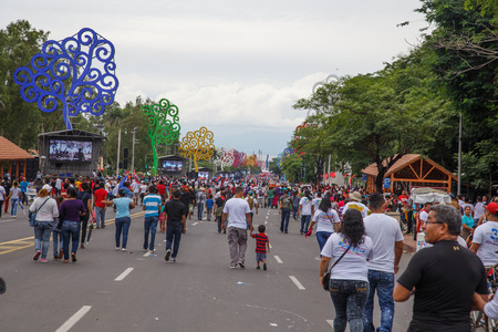 commemorating: Managua, Nicaragua – July 19, 2016: People on street commemorating the 37th anniversary of victory of sandinist revolution