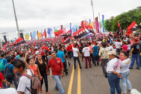 Managua, Nicaragua – July 19, 2016: People on street commemorating the 37th anniversary of victory of sandinist revolution