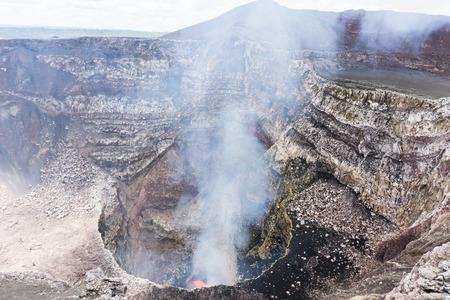 volcan: view of volcan Masaya, Nicaragua. The most active volcano in Nicaragua. Stock Photo