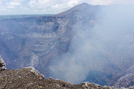 active volcano: view of volcan Masaya, Nicaragua. The most active volcano in Nicaragua. Stock Photo