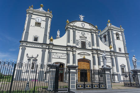 Cathedral outdoors view on sunny day from Rivas, Nicaragua Stock Photo