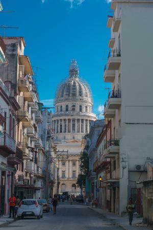 capitolio: La Havana, Cuba – December 25, 2016: street view with capitolio at background Editorial