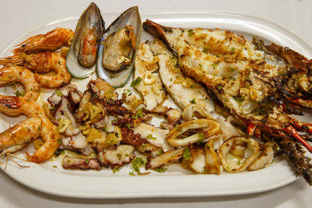 plater: seafood plater. Gourmet food selection Stock Photo
