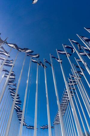 bandera de el salvador: Banderas de El Salvador en el cielo azul en el fondo