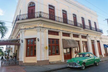 center hall colonial: Cienfuegos, Cuba – January 1, 2017: street view around central park Editorial