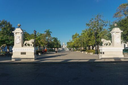 Cienfuegos, Cuba – January 1, 2017: street view around central park
