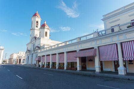 Cienfuegos, Cuba – January 1, 2017: street view around central park
