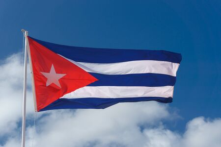 cuban flag with blue sky Banco de Imagens - 80732064