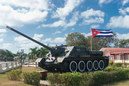 playa giron, Cuba – January 2, 2017: tank from museum with cuban flag