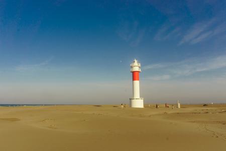 Panoramic view of Lighthouse el Far del Fangar on Delta de lebre natural park, tarragona, Catalonia, Spain. Stock Photo