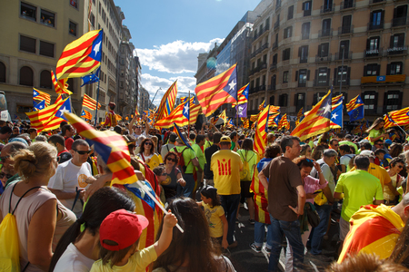 Barcelona, Catalonia, Spain, September 11, 2017: Rally support for independence of Catalunya during the national day