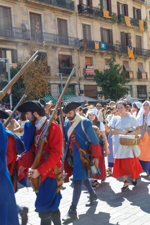 Barcelona, Catalonia, Spain, September 11, 2017: historic cultural demostration from Catalonia during Rally support for independence of Catalunya during the national day