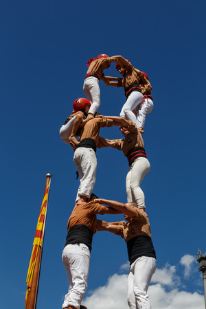 Barcelona, Catalonia, Spain, September 11, 2017: Castellers during rally support for independence of Catalunya during the national day. Castellers its a tradition from Catalonia. Editorial