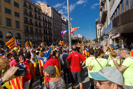 Barcelona, Catalonia, Spain, September 11, 2017:  people on rally support for independence of Catalunya during the national day Editorial