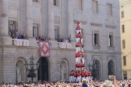 Barcelona, Catalonia, September 24, 2017: Castellers in Barcelona during the celebration of La Merce in front the city hall