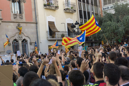 Granollers, Catalonia, Spain, October 3, 2017: paceful people in protest against spanish police intervention of 1 october in catalonia referendum.