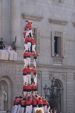 Barcelona, Catalonia, September 24, 2017: Castellers during La Merce celebration in Barcelona. In plaza Sant Jaume, in city hall. Redakční
