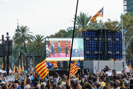 Barcelona, Catalonia, Spain, October 10, 2017: people on rally support for independence of Catalunya in Passeig Lluis Companys. Editorial