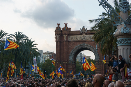 Barcelona, Catalonia, Spain, October 10, 2017: people on rally support for independence of Catalunya in Passeig Lluis Companys. Redakční