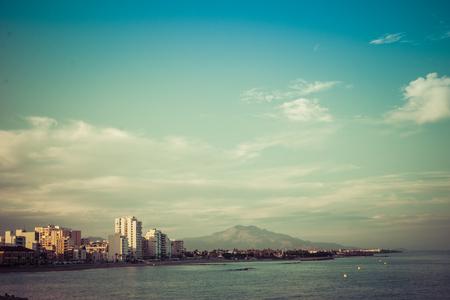 Vinaros, Spain, September 03, 2017:  Vinaros view from port in sunset. Vinaroz is  an mediterranean sea town