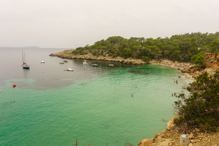 incredible view of turquoise waters on the magnificent beach of Ibiza