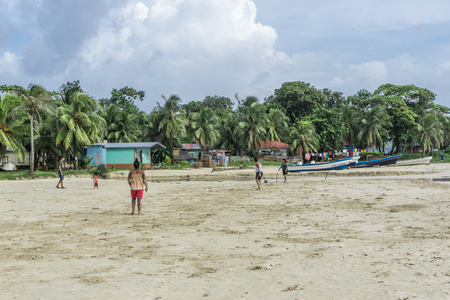 Corn Island, Nicaragua – August 17, 2016: beach view with people around. General travel imagery