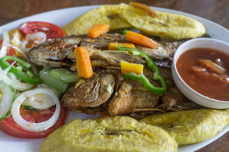 fried fish served with salad, plantains and sauce, American Style