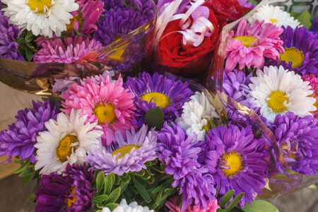 colorful flowers on sell in the shop