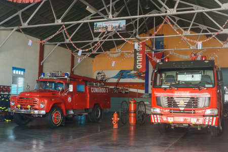 Santa Clara, Cuba, January 4, 2017: fire department station with trucks from Santa clara, cuba