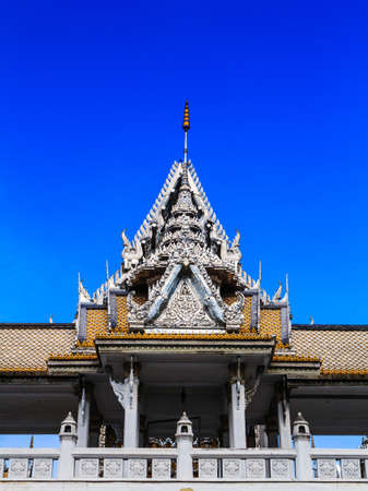 roof laythai temple with sky in thailand photo
