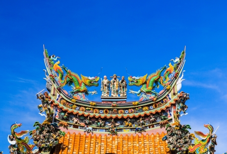 dragon on roof at temple,thailand photo