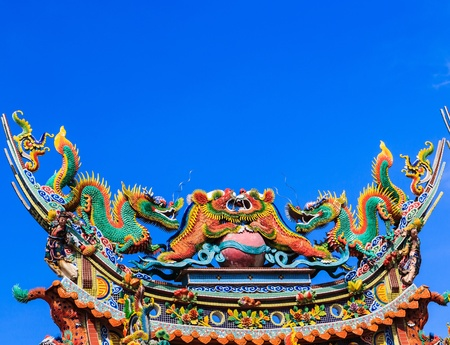 dragon on roof at chinese temple thailand photo