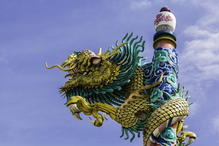 dragon on roof at chinese temple,thailand photo