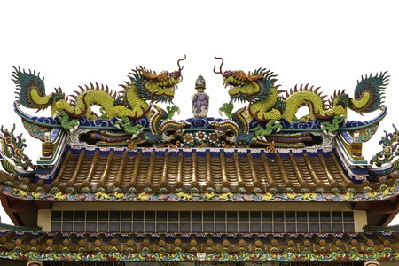 dragon on roof at temple isolate photo