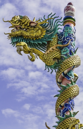 dragon on roof at china temple,thailand photo