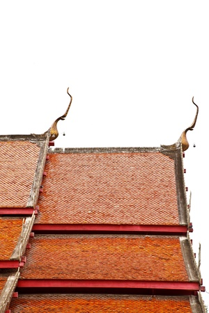 The isolated picture of the top of Thai style roof at Wat Prakaew Dontao, Lampang province, Thailand Stock Photo