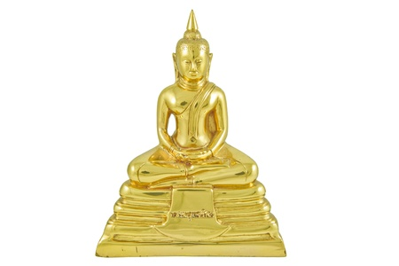 The front side of the brass image of Buddha, Phra Buddha Sothorn, Chachoengsao province, Thailand Stock Photo