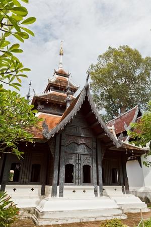 vihara: The Lanna Style Tetrahedron Vihara, Chedi Luang Temple, Chiang Mai Province, Thailand Stock Photo
